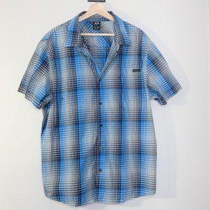 Oakley Blue & Gray Geometric Plaid Short Sleeve